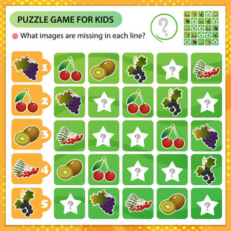 Sudoku puzzle. What images are missing in each line? Berries and fruits. Black currant, kiwi, cherry, Rowan, grapes. Logic puzzle for kids. Education game for children. Worksheet vector design for schoolers.