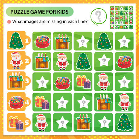 Sudoku puzzle. What images are missing in each line? Christmas. New year. Logic puzzle for kids. Education game for children. Worksheet vector design for schoolers