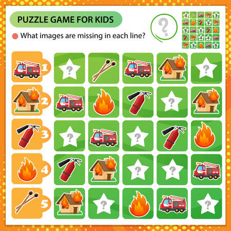 Sudoku puzzle. What images are missing in each line? Fire truck, extinguisher, burning house and flame. Logic puzzle for kids. Education game for children. Worksheet vector design for schoolers.