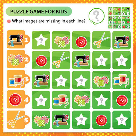 Sudoku puzzle. What images are missing in each line? Sewing machine, needle and thread, scissors. Logic puzzle for kids. Education game for children. Worksheet vector design for schoolers