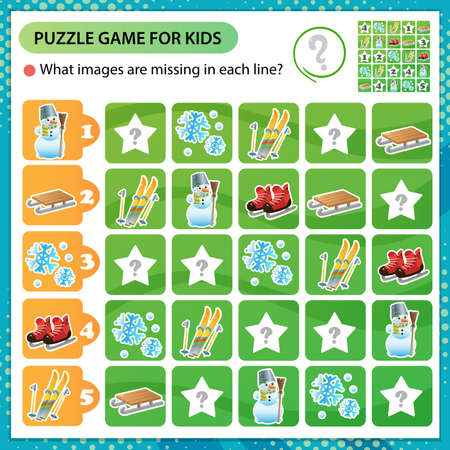 Sudoku puzzle. What images are missing in each line? Ski, skates, snowman, wood sledge. Winter leisure activities. Logic puzzle for kids. Education game for children. Worksheet vector design for schoolers.