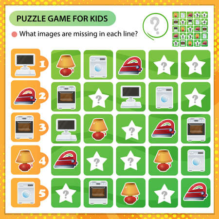 Sudoku puzzle. What images are missing in each line? Electrical goods and household equipment. Logic puzzle for kids. Education game for children. Worksheet vector design for schoolers.