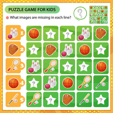 Sudoku puzzle. What images are missing in each line? Sports equipment. Basketball, badminton, baseball. Logic puzzle for kids. Education game for children. Worksheet vector design for schoolers 矢量图像