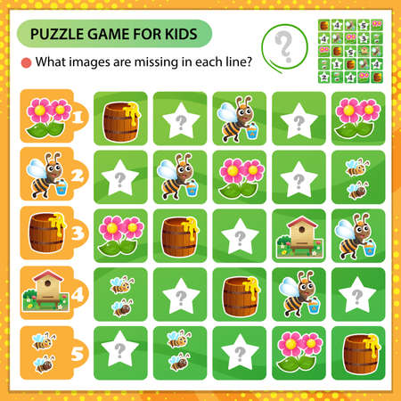 Sudoku puzzle. What images are missing in each line? Bee, honey, beehive and flower. Logic puzzle for kids. Education game for children. Worksheet vector design for schoolers