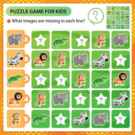 Sudoku puzzle. What images are missing in each line? Animals of Africa. Zebra, crocodile, monkey, lion, elephant. Logic puzzle for kids. Education game for children. Worksheet vector design for schoolers 矢量图像