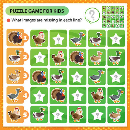 Sudoku puzzle. What images are missing in each line? Farm animals. Poultry. Turkey, goose, duck, Drake, hen. Logic puzzle for kids. Education game for children. Worksheet vector design for schoolers 矢量图像