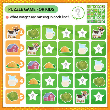 Sudoku puzzle. What images are missing in each line? Farm animals. Goat. Logic puzzle for kids. Education game for children. Worksheet vector design for schoolers