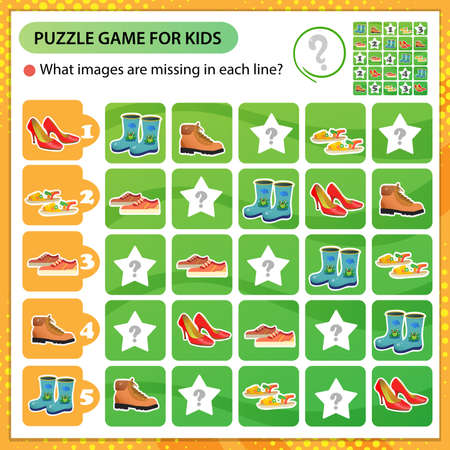 Sudoku puzzle. What images are missing in each line? Shoes. Sports sneakers, children's boots, women's pair of shoes, sandals. Logic puzzle for kids. Education game for children. Worksheet vector design for schoolers