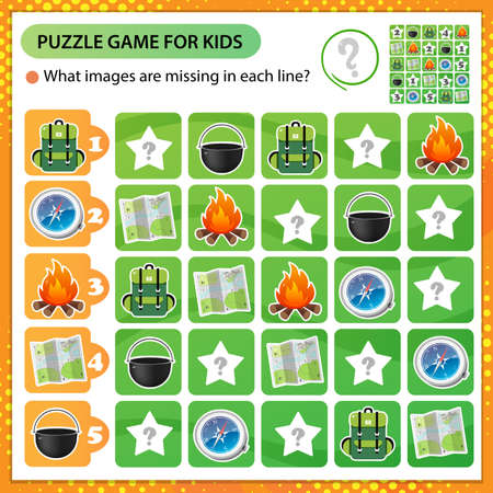 Sudoku puzzle. What images are missing in each line? Hiking equipment. Compass, map, backpack, bowler hat. Logic puzzle for kids. Education game for children. Worksheet vector design for schoolers