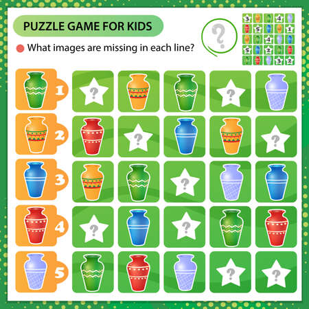 Sudoku puzzle. What images are missing in each line? Multicolored vases. Logic puzzle for kids. Education game for children. Worksheet vector design for schoolers 向量圖像