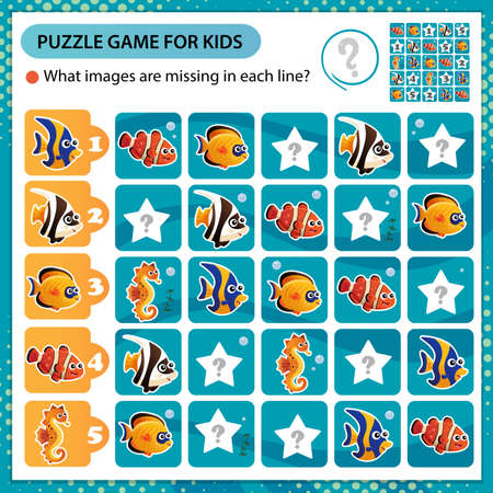 Sudoku puzzle. What images are missing in each line? Aquarium fishes. Clownfish, guppy, angelfish, seahorse. Logic puzzle for kids. Education game for children. Worksheet vector design for schoolers.