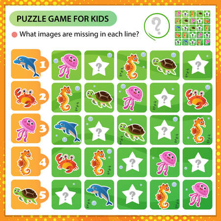 Sudoku puzzle. What images are missing in each line? Marine life. Turtle, jellyfish, dolphin, crab, seahorse. Logic puzzle for kids. Education game for children. Worksheet vector design for schoolers.
