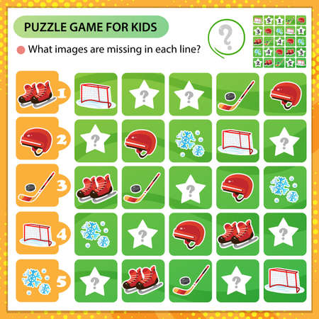 Sudoku puzzle. What images are missing in each line? Sports equipment. Hockey. Skates with helmet, stick and puck. Logic puzzle for kids. Education game for children. Worksheet vector design for schoolers.