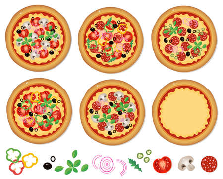 Cheese pizza with tomatoes, salami, olives, mushrooms, arugula and spices isolated on a white background. Vector illustration set for kids.