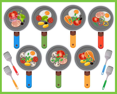 Color image of frying pans and products. Food ingredients on white background. Food and meals. Dishes and crockery. Vector illustration set kids.