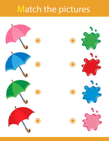 Match by color. Puzzle for kids. Matching game, education game for children. Umbrellas. What color are the objects? Worksheet for preschoolers. Ilustración de vector
