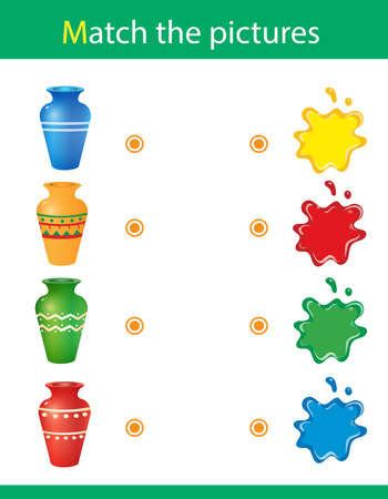 Match by color. Puzzle for kids. Matching game, education game for children. What color are the vases? Worksheet for preschoolers.