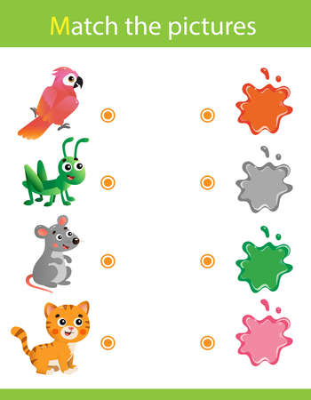 Match by color. Puzzle for kids. Matching game, education game for children. What color are the animals? Parrot, mouse, cat, grasshopper. Worksheet for preschoolers.
