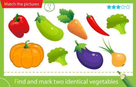 Find and mark two identical items. Puzzle for kids. Matching game, education game for children. Color images of vegetables. Carrot, zucchini, courgette, pumpkin, pepper, onion, eggplant. Worksheet for preschoolers
