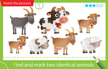 Find and mark two identical animals. Puzzle for kids. Matching game, education game for children. Color images of farm animals with cubs. Cow, goat and kid and lamb or little sheep. Worksheet for preschoolers