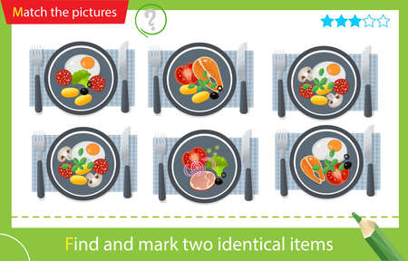 Find and mark two identical items. Puzzle for kids. Matching game, education game for children. Color image of portion lunch or dinner. Food and meals. Dishes and crockery. Worksheet vector design for preschoolers
