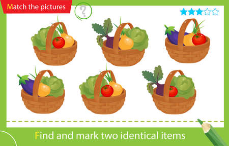 Find and mark two identical items. Puzzle for kids. Matching game, education game for children. Baskets of vegetables. Cabbage, beetroot, tomato, onion, eggplant. Worksheet vector design for preschoolers Illustration