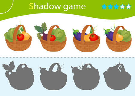 Shadow Game for kids. Match the right shadow. Baskets of vegetables. Cabbage, beetroot, tomato, onion, eggplant. Worksheet vector design for children