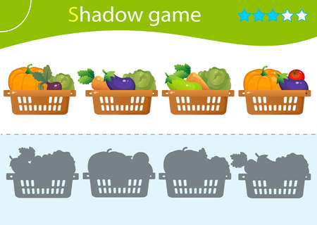 Shadow Game for kids. Match the right shadow. Baskets of vegetables. Cabbage, beetroot, tomato, eggplant, pumpkin, carrot, zucchini. Worksheet vector design for children.