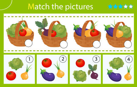Matching game, education game for children. Puzzle for kids. Match by elements. Baskets of vegetables. Cabbage, beetroot, tomato, onion, eggplant. Worksheet for preschoolers