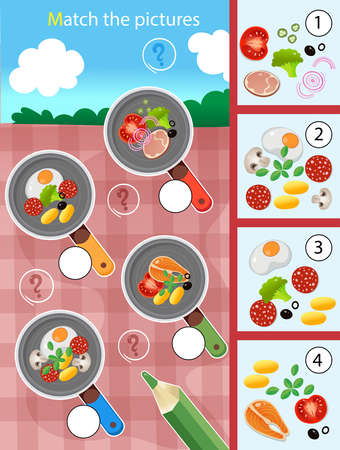 Matching game, education game for children. Puzzle for kids. Match by elements. Frying pans and products. Food and meals. Worksheet for preschoolers. Ilustracje wektorowe