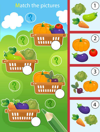 Matching game, education game for children. Puzzle for kids. Match by elements. Baskets of vegetables. Cabbage, beetroot, tomato, eggplant, pumpkin, carrot, zucchini. Worksheet for preschoolers