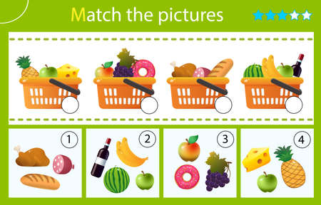 Matching game, education game for children. Puzzle for kids. Match by elements. Grocery baskets or food baskets with goods. Shop and purchases. Worksheet for preschoolers.