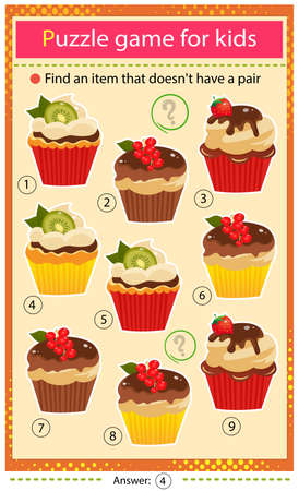 Find a item that does not have a pair. Puzzle for kids. Matching game, education game for children. Color set of holiday cupcakes or muffins. Worksheet to develop attention.