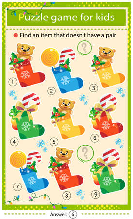 Find a item that does not have a pair. Puzzle for kids. Matching game, education game for children. Color images of Christmas Socks, Christmas boots with gifts, toys and sweets. New year. Worksheet to develop attention.