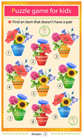 Find a item that does not have a pair. Puzzle for kids. Matching game, education game for children. Bouquets of wild flowers in a vases. Worksheet to develop attention.