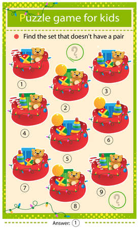 Find a item that does not have a pair. Puzzle for kids. Matching game, education game for children. Santa Claus bag with gifts, toys and sweets. Christmas. New year. Worksheet to develop attention.