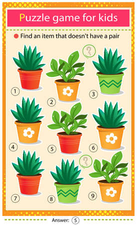 Find a item that does not have a pair. Puzzle for kids. Matching game, education game for children. Color images of houseplants or indoor plants. Worksheet to develop attention.