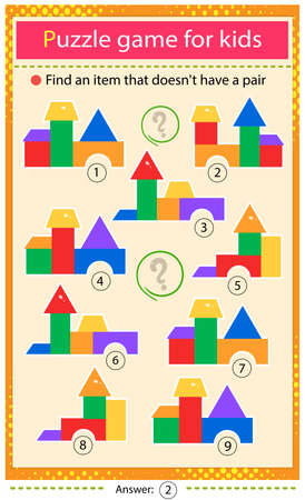 Find a set that does not have a pair. Puzzle for kids. Matching game, education game for children. Toy pyramids. Worksheet to develop attention. Ilustrace