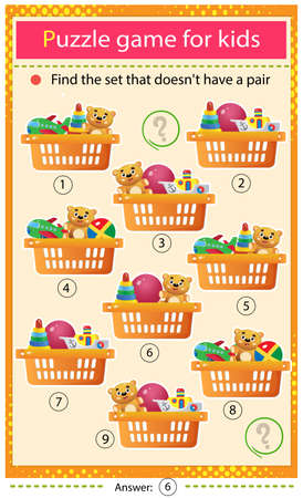 Find a set that does not have a pair. Puzzle for kids. Matching game, education game for children. Baskets with toys. Worksheet to develop attention.