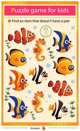Find a item that does not have a pair. Puzzle for kids. Matching game, education game for children. Color images of aquarium fishes. Clownfish, guppy, angelfish, seahorse. Worksheet to develop attention.