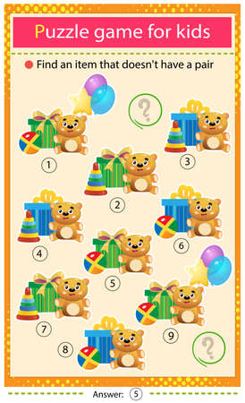 Find a item that does not have a pair. Puzzle for kids. Matching game, education game for children. Holiday gifts and toys. Birthday. Worksheet to develop attention.