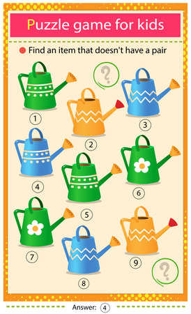 Find a item that does not have a pair. Puzzle for kids. Matching game, education game for children. Color watering cans. Worksheet to develop attention.