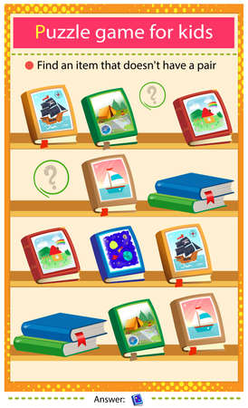 Find a item that does not have a pair. Puzzle for kids. Matching game, education game for children. Color images of children's books. Worksheet to develop attention.