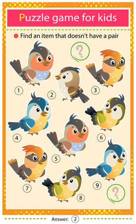 Find a item that does not have a pair. Puzzle for kids. Matching game, education game for children. Color images of cartoon birds. Worksheet to develop attention.
