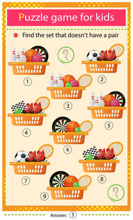 Find a set that does not have a pair. Puzzle for kids. Matching game, education game for children. Baskets with sports equipment. Worksheet to develop attention.