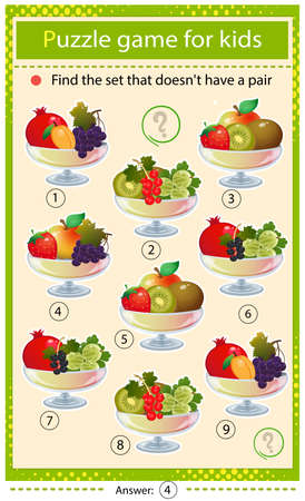 Find a set that does not have a pair. Puzzle for kids. Matching game, education game for children. Vases with fruits and berries. Currant, strawberry, apricot, cherry, raspberry, gooseberry, grape, apple and kiwi. Worksheet to develop attention.
