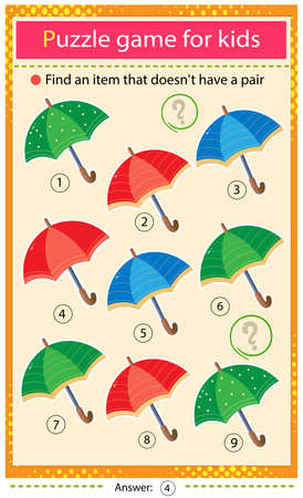 Find a item that does not have a pair. Puzzle for kids. Matching game, education game for children. Color umbrellas. Worksheet to develop attention.