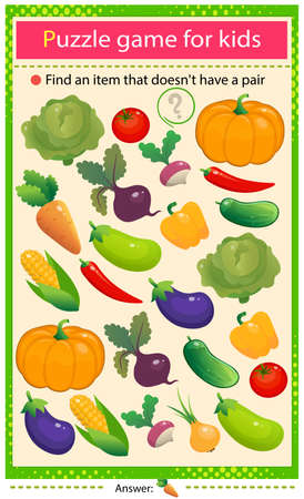 Find a veggie that does not have a pair. Puzzle for kids. Matching game, education game for children. Color set of vegetables. Cabbage, beetroot, radish, pepper, tomato, cucumber and pumpkin. Ilustrace