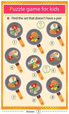 Find a set that does not have a pair. Puzzle for kids. Matching game, education game for children. Color image of frying pans and products. Food and meals. Dishes and crockery. Worksheet to develop attention. Ilustrace