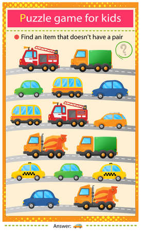 Find a car that does not have a pair. Puzzle for kids. Matching game, education game for children. Transport or vehicle. Worksheet to develop attention.